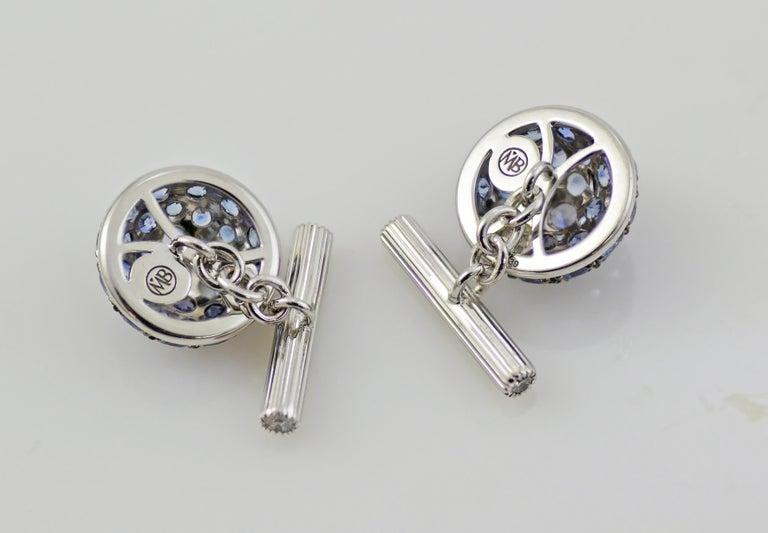 Blue Sapphires Carat 6.39 Diamond Carat 0.18 18 Karat Gold Boule Cufflinks In New Condition For Sale In Valenza , IT