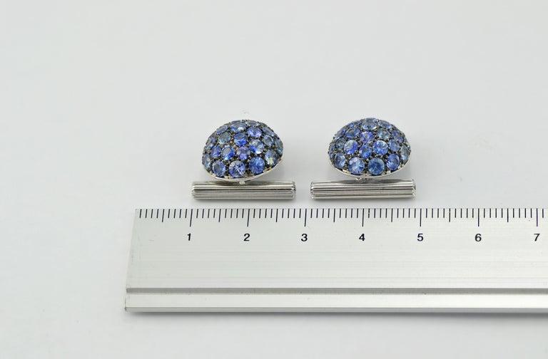 Women's or Men's Blue Sapphires Carat 6.39 Diamond Carat 0.18 18 Karat Gold Boule Cufflinks For Sale