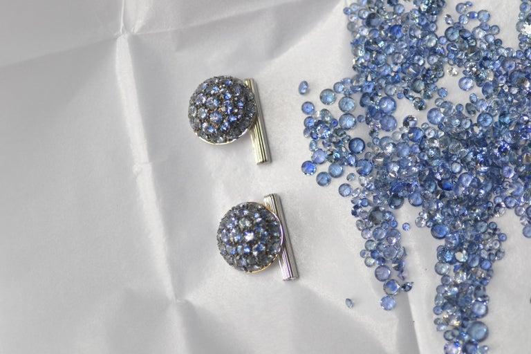 Blue Sapphires Carat 6.39 Diamond Carat 0.18 18 Karat Gold Boule Cufflinks For Sale 2