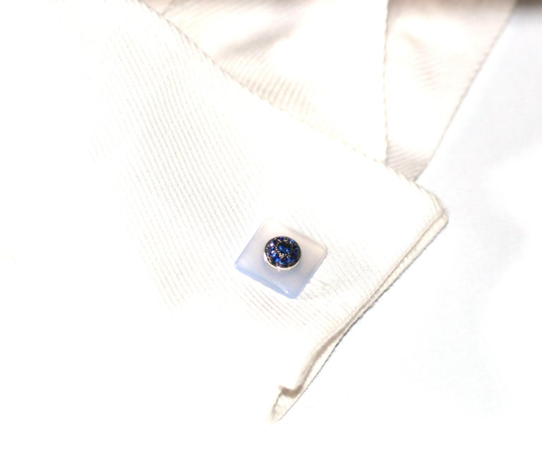 Contemporary Blue Sapphires Chalcedony 18 KT White Gold  Made in Italy Cufflinks For Sale