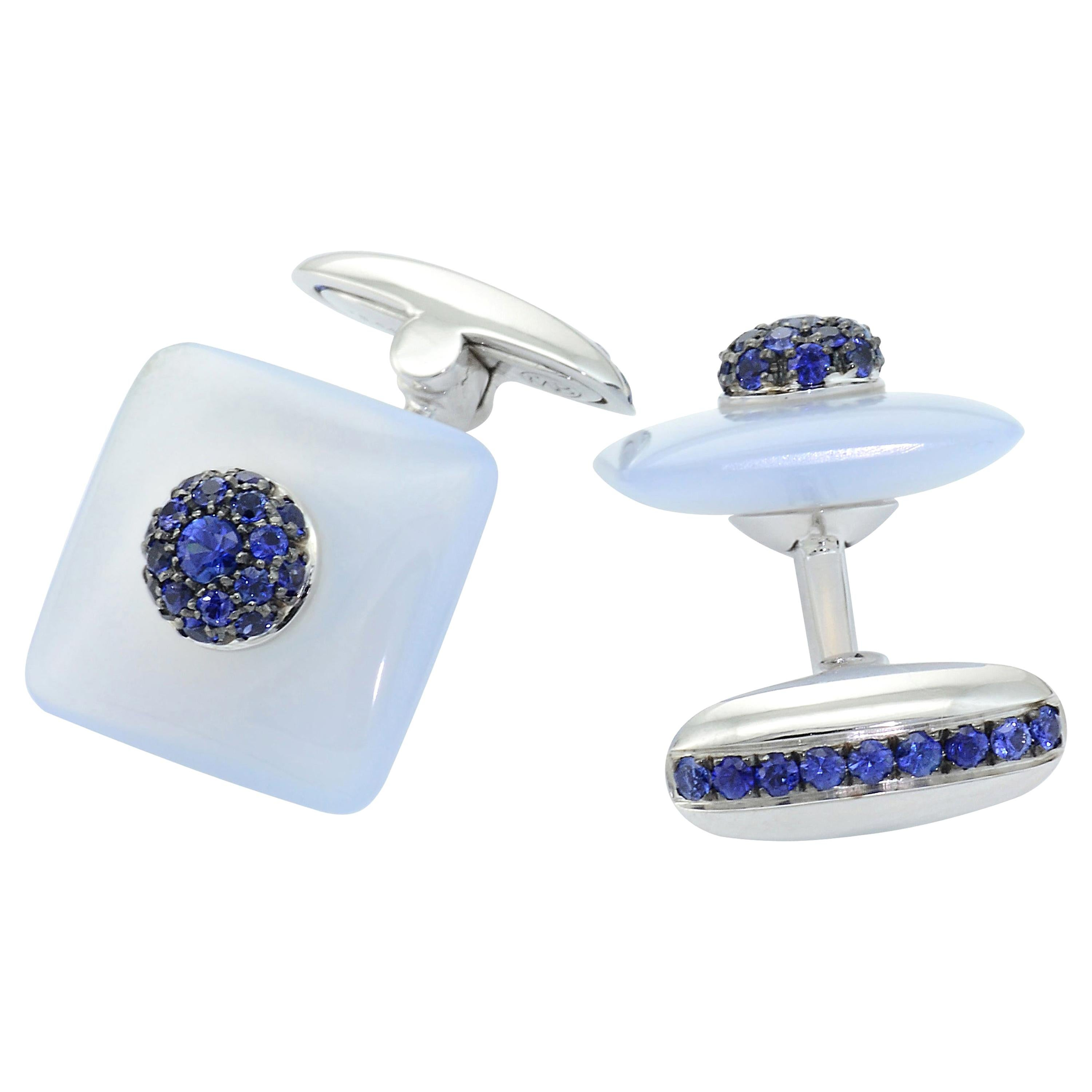 Blue Sapphires Chalcedony 18 KT White Gold  Made in Italy Cufflinks