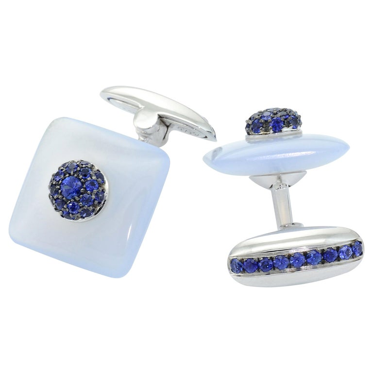 Blue Sapphires Chalcedony 18 KT White Gold  Made in Italy Cufflinks For Sale