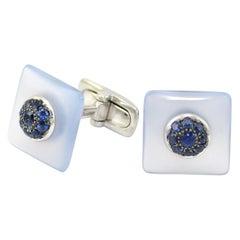 Blue Sapphires Chalcedony White Gold Cufflinks