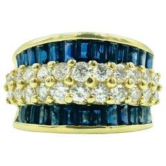 Blue Sapphires Diamond Band