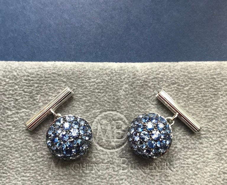 Round Cut Blue Sapphires Diamond Gold Cufflinks Handcrafted by Margherita Burgener, Italy For Sale