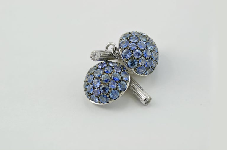 Blue Sapphires Diamond Gold Cufflinks Handcrafted by Margherita Burgener, Italy For Sale 1