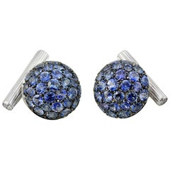 Blue Sapphires Diamond White Gold Boule Cufflinks
