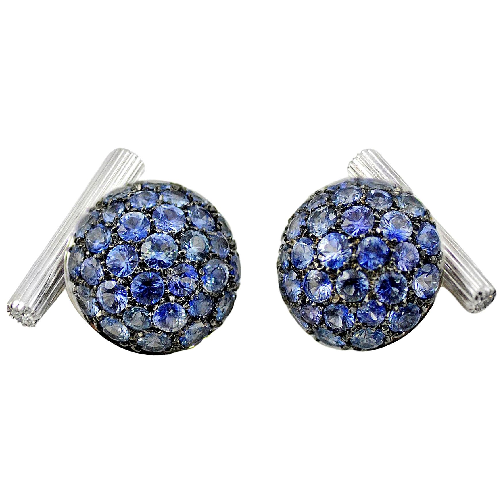 Blue Sapphires Diamond 18 KT White Gold Boule Made in Italy Cufflinks