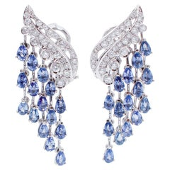 Blue Sapphires, Diamonds, 14 Karat White Gold Chandelier Earrings