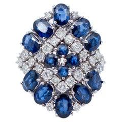 Blue Sapphires, Diamonds, 14 Karat White Gold Ring