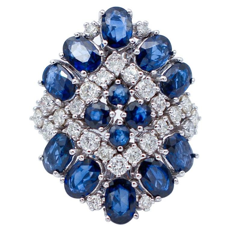 Blue Sapphires, Diamonds, 14 Karat White Gold Ring For Sale