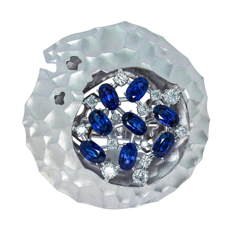 Blue Sapphires Diamonds 18 Karat White Gold Big Oasis Ring Hot desert - nothing alive around. But it is necessary to appear a sip of water, and life awakens. It was the deserts that inspired our designers to create this Ring. Incredibly dry, the