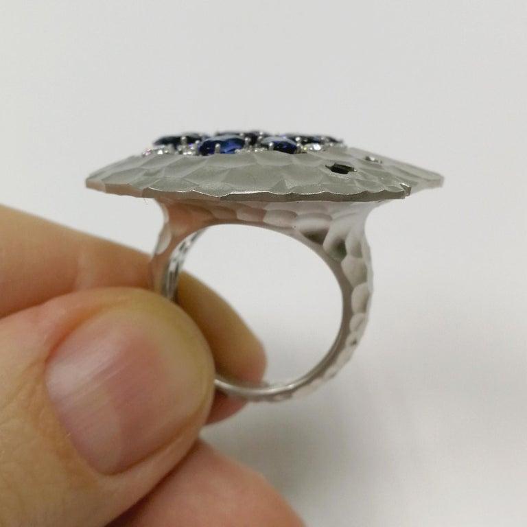 Oval Cut Blue Sapphires Diamonds 18 Karat White Gold Big Oasis Ring For Sale