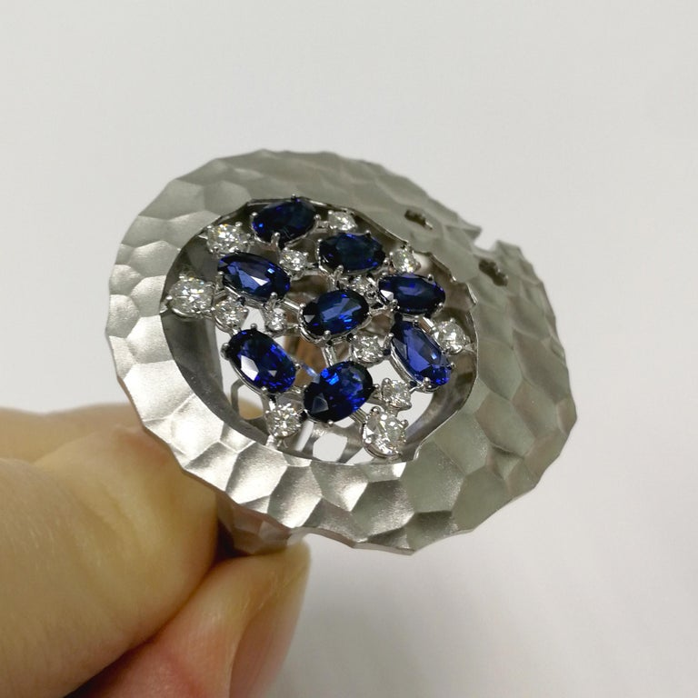 Blue Sapphires Diamonds 18 Karat White Gold Big Oasis Ring For Sale 1