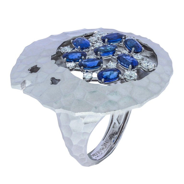 Blue Sapphires Diamonds 18 Karat White Gold Big Oasis Ring For Sale