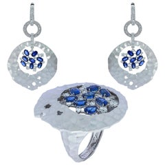 Blue Sapphires Diamonds 18 Karat White Gold Big Oasis Suite