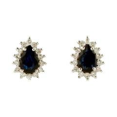 Blue Sapphires, Diamonds, 18 Karat White Gold Drop-Shaped Earrings