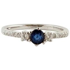 Blue Sapphires, Diamonds, 18 Karat White Gold Engagement Ring