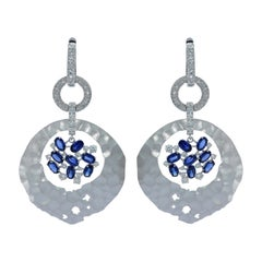 Blue Sapphires Diamonds 18 Karat White Gold Oasis Earrings