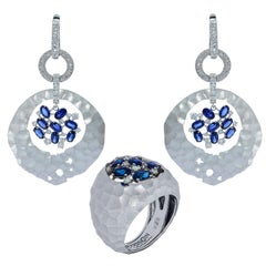 Blue Sapphires Diamonds 18 Karat White Gold Small Oasis Suite