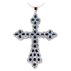 Blue Sapphires, Diamonds, 9 Karat Rose Gold and Silver Cross Pendant Necklace