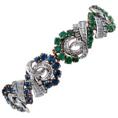 Blue Sapphires, Emeralds, Diamonds, 14 Karat White and Rose Gold Bracelet