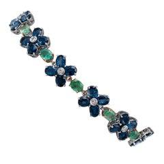 Blue Sapphires, Emeralds, Diamonds, 14 Karat White and Rose Gold Retrò Bracelet