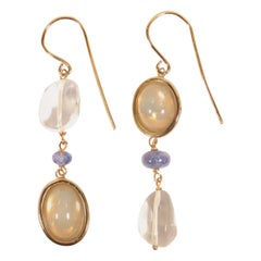 Blue Sapphires Moonstones Rock Crystal Rose Gold Earrings Handcrafted in Italy