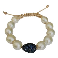 Blue Sapphires Pave and Pearls Bracelet
