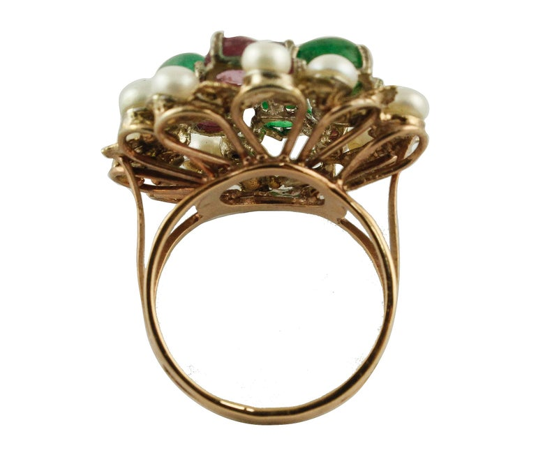 Retro Blue Sapphires Rubies Emeralds Little Pearls Rose Gold and Silver Fashion Ring For Sale