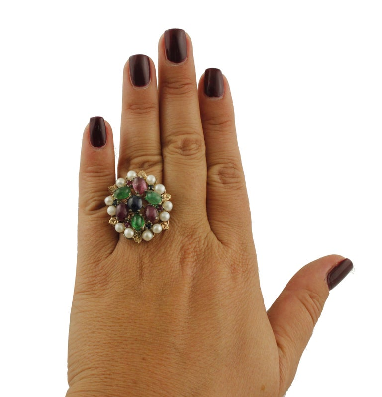 Blue Sapphires Rubies Emeralds Little Pearls Rose Gold and Silver Fashion Ring In Good Condition For Sale In Marcianise, Caserta