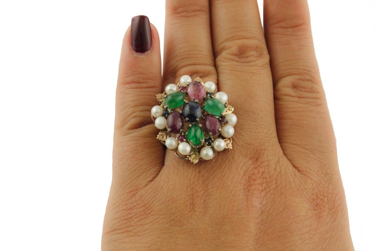 Women's Blue Sapphires Rubies Emeralds Little Pearls Rose Gold and Silver Fashion Ring For Sale