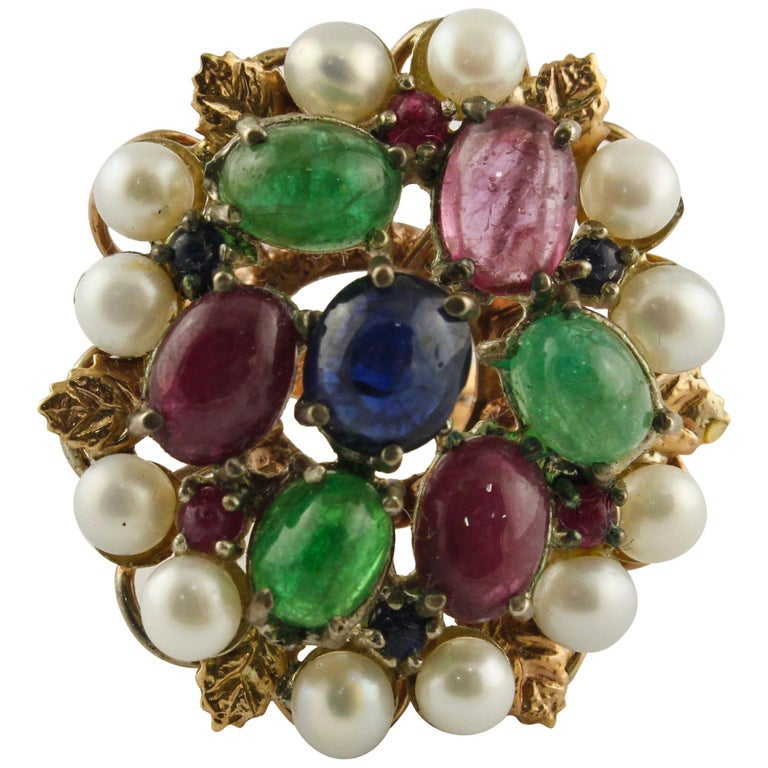 Blue Sapphires Rubies Emeralds Little Pearls Rose Gold and Silver Fashion Ring For Sale