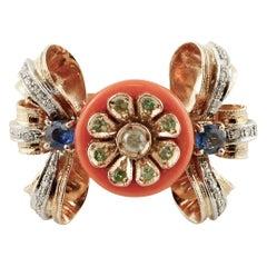 Blue Sapphires, Tsavorite, Diamonds, Coral, 14 Karat Rose and White Gold Ring