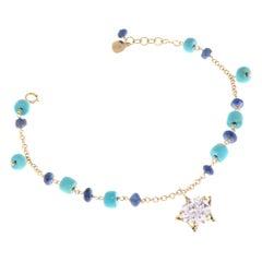 Blue Sapphires Turquoises Zircon 9 Karat Rose Gold Bracelet Handcrafted in Italy