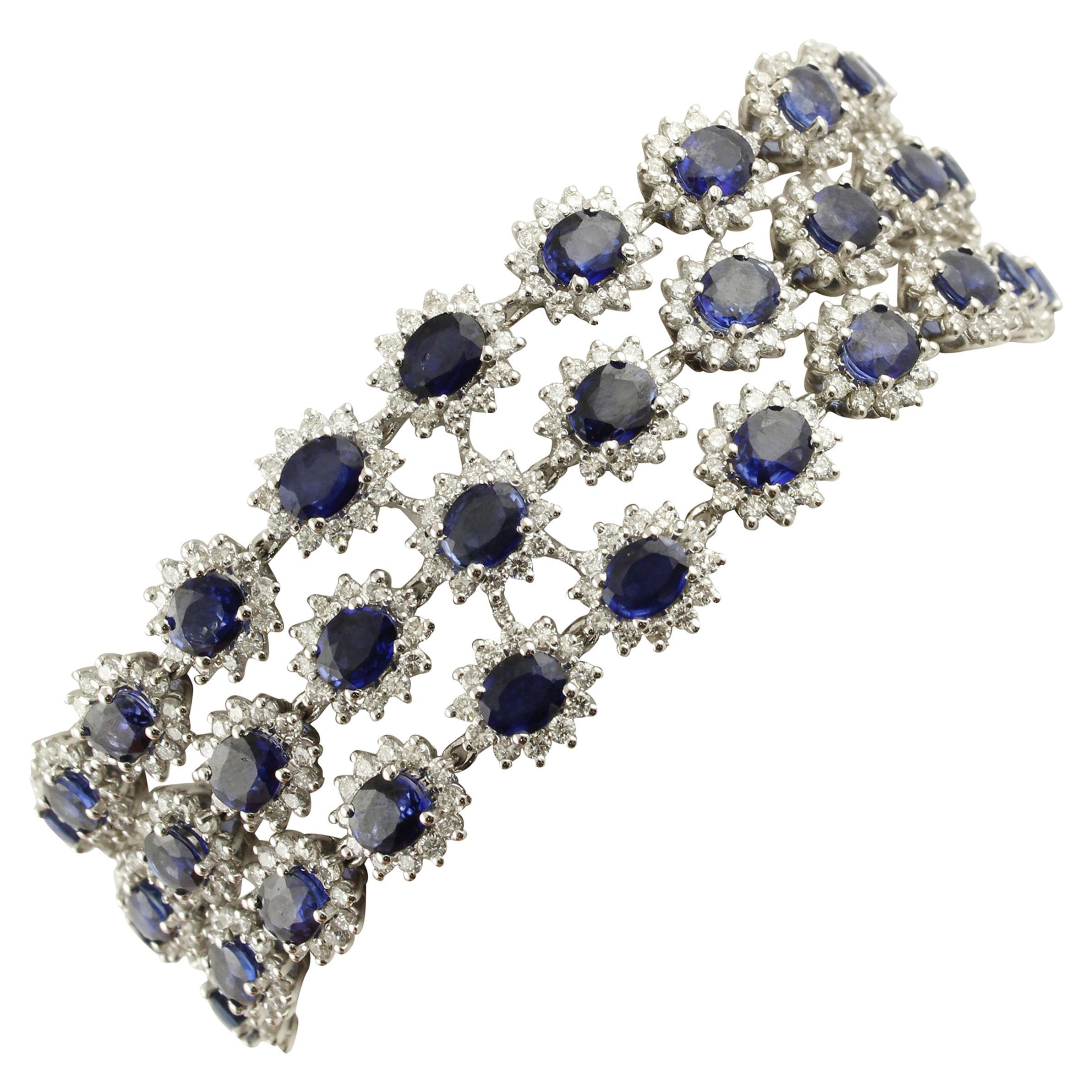 Blue Sapphires White Diamonds White Gold Link Bracelet