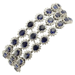 Blue Sapphires White Diamonds White Gold Link Bracelet