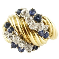 Blue Sapphires White Diamonds Yellow Gold Fashion Ring