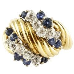 Blue Sapphires White Diamonds Yellow Gold Fashion Ring