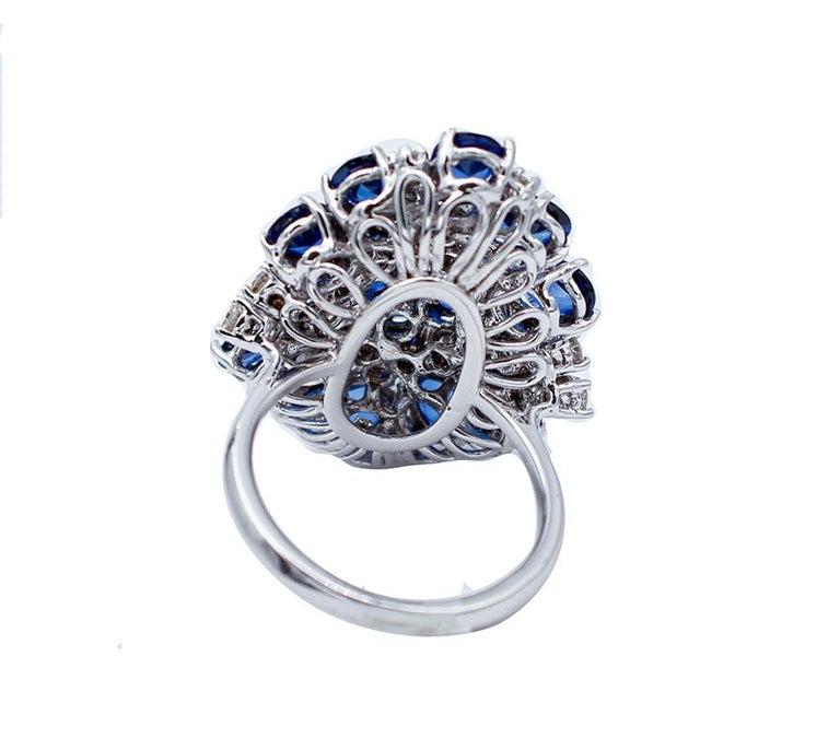Retro Blue Sapphires, Diamonds, 14 Karat White Gold Ring For Sale