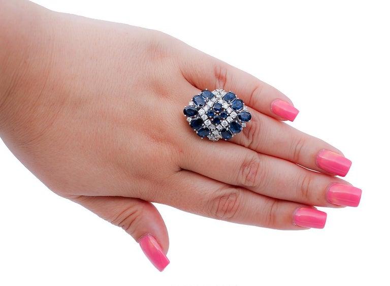 Mixed Cut Blue Sapphires, Diamonds, 14 Karat White Gold Ring For Sale