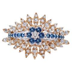 Blue Sapphires, Diamonds, 18 Karat White and Yellow Gold Ring