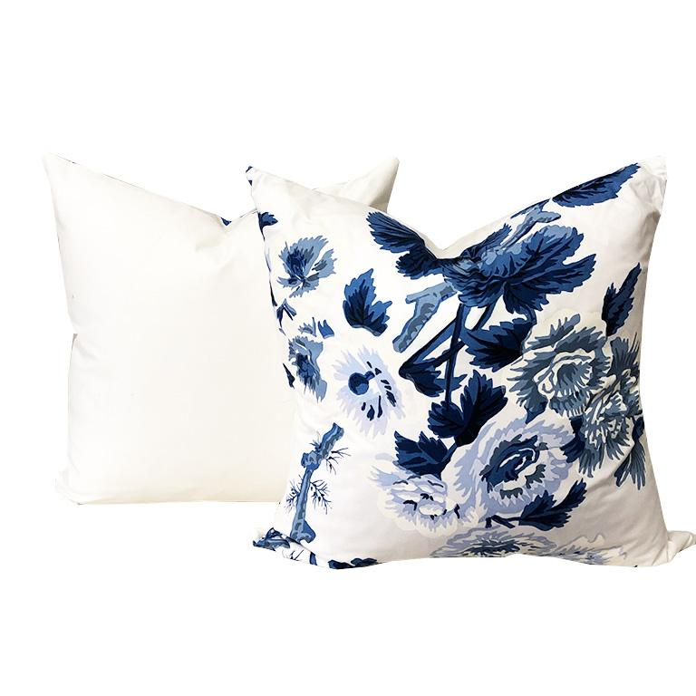 American Classical Blue Schumacher Chinoiserie Chinz Pyne Hollyhock Large Down Filled Pillow For Sale