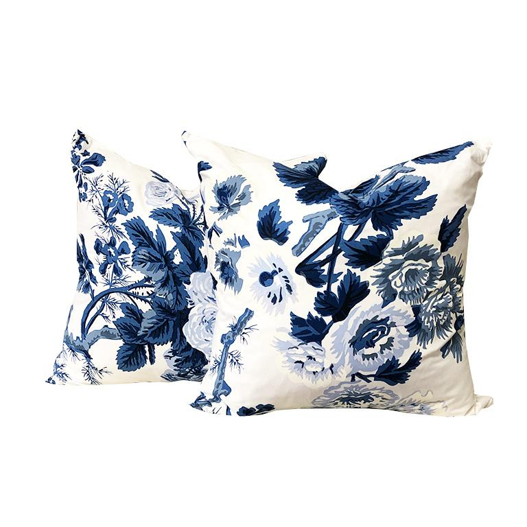 American Blue Schumacher Chinoiserie Chinz Pyne Hollyhock Large Down Filled Pillow For Sale