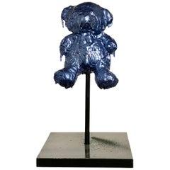 Blue Sculptural Bronze Teddy Bear, 21st Century by Mattia Biagi