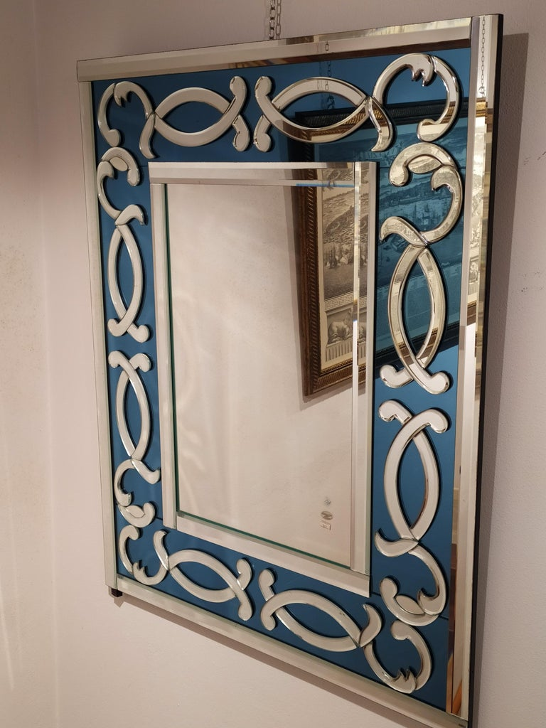 Italian Blue Sea, Contemporay Murano Glass Mirror Bevelled, by Fratelli Tosi For Sale