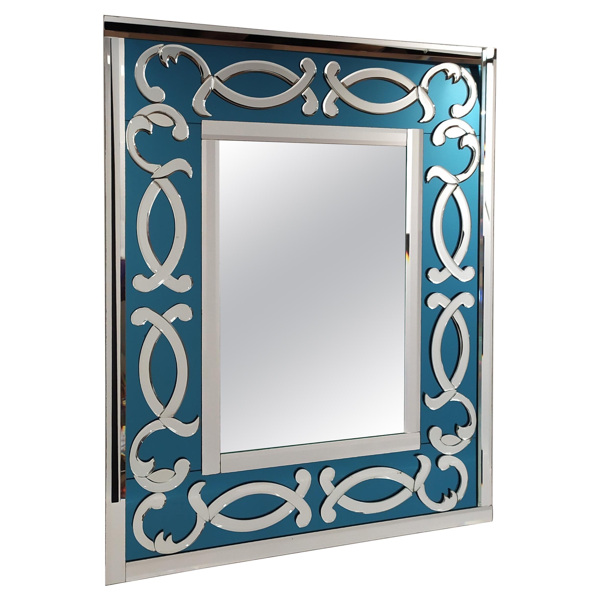 Blue Sea, Contemporay Murano Glass Mirror Bevelled, by Fratelli Tosi