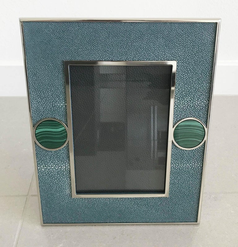 Blue shagreen leather with malachite inserts and nickel-plated picture frame by Fabio Ltd Measures: Height 10.5 inches, width 8.5 inches, depth 1 inch Photo size: 5 inches by 7 inches 1 available in stock in Palm Springs on SALE for $1,079 !! Order