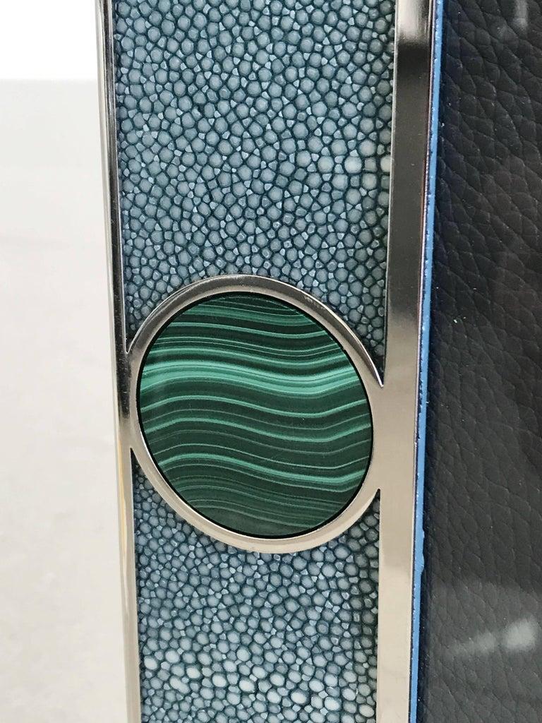 Art Deco Blue Shagreen with Malachite Photo Frame by Fabio Ltd For Sale