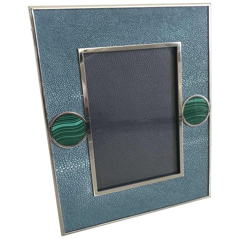 Blue Shagreen with Malachite Photo Frame by Fabio Ltd For Sale
